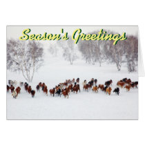 Horses in the snow Christmas card