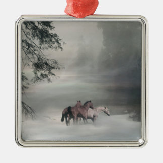 Horses in the snow Christmas Ornament Christmas Tree Ornament