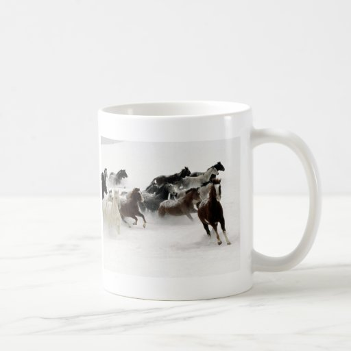 Horses in the snow classic white coffee mug