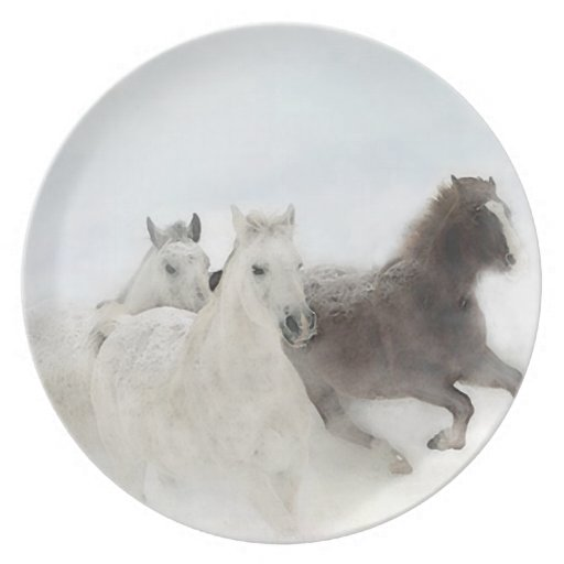 Horses in the Snow Dinner Plate Plates