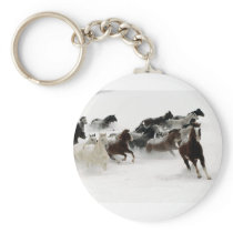 Horses in the snow keychain