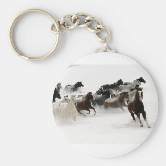 Horses in the snow basic round button keychain