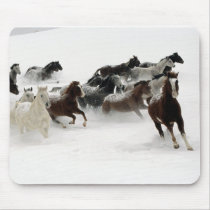Horses in the snow mouse pad