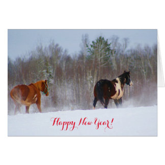Horses in the snow New Year's card