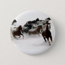 Horses in the snow pinback button