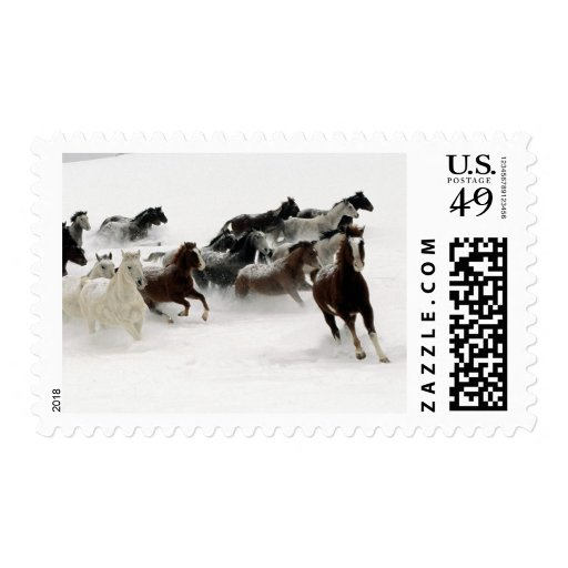 Horses in the snow stamp