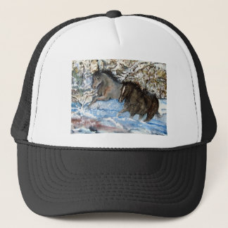 Horses in the Snow Trucker Hat