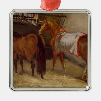 Horses in the Stables Square Metal Christmas Ornament