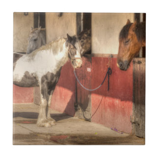 horses in the stables tile