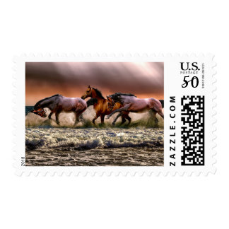 Horses In The Surf Postage