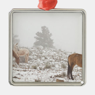 Horses in the Winter Snow and Fog Christmas Ornaments