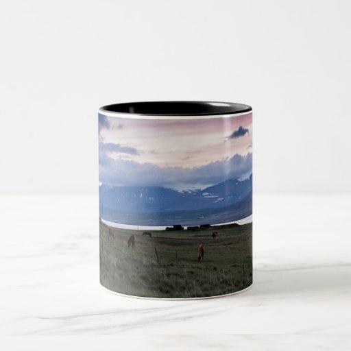 Horses in Whale-fjord #3 Two-Tone Coffee Mug