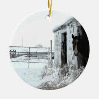 Horses in Winter Stable Ceramic Ornament