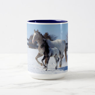 Horses In Winter Two-Tone Coffee Mug