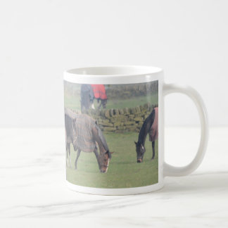 Horses In Winter With Coats On Coffee Mug