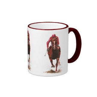 horses, jockey man coffee mug