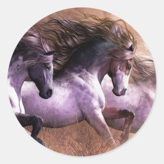 horses.jpg classic round sticker