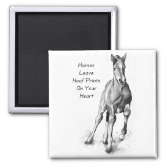 Horses Leave Hoofprints On Your Heart: Pencil Art 2 Inch Square Magnet
