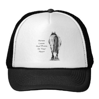 Horses Leave Hoofprints On Your Heart: Pencil Art Trucker Hat