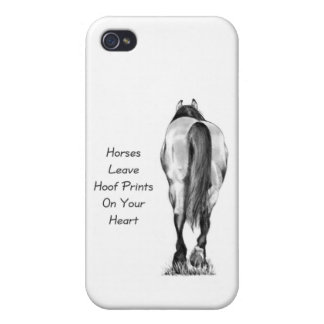 Horses Leave Hoofprints On Your Heart: Pencil Art iPhone 4/4S Cases