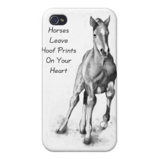 Horses Leave Hoofprints On Your Heart: Pencil Art iPhone 4 Case