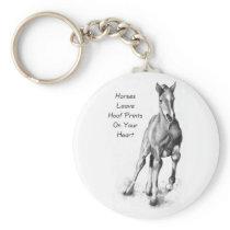 Horses Leave Hoofprints On Your Heart: Pencil Art Keychain