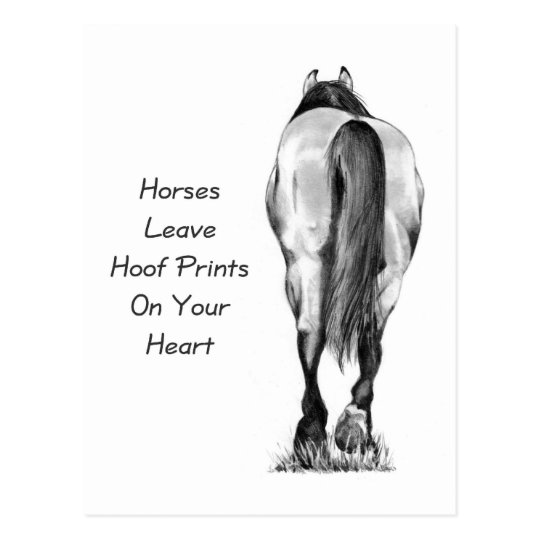 Horses Leave Hoofprints On Your Heart: Pencil Art Postcard