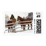 Horses looking over fence in snow postage stamp