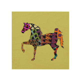 Horses make my life full of color wood wall art