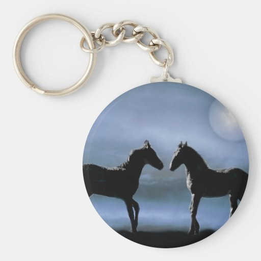Horses making friends by moonlight basic round button keychain