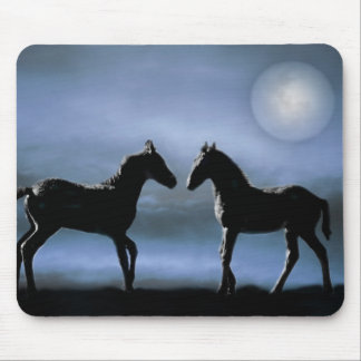 Horses making friends by moonlight mouse pad