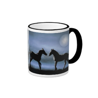 Horses making friends by moonlight ringer coffee mug