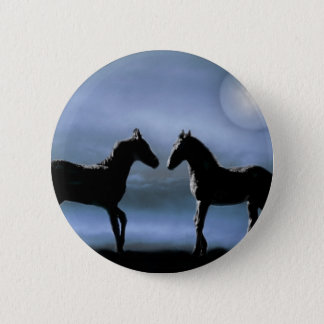 Horses making friends by moonlight pinback button