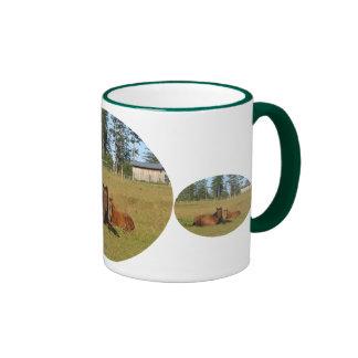 Horses: Mama and Baby Horse Lying Down Ringer Mug
