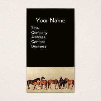 HORSES /MARES AND FOALS Black Business Card