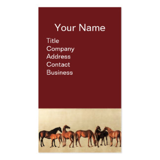 HORSES /MARES AND FOALS Brown Business Card Template