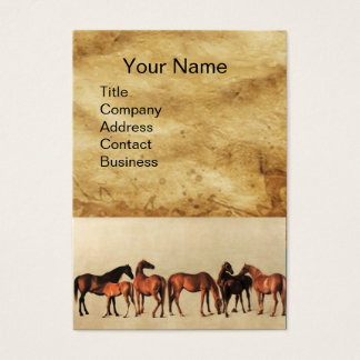 HORSES /MARES AND FOALS Brown Parchment Business Card