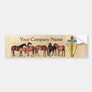 HORSES /MARES AND FOALS CADUCEUS VETERINARY SYMBOL BUMPER STICKER