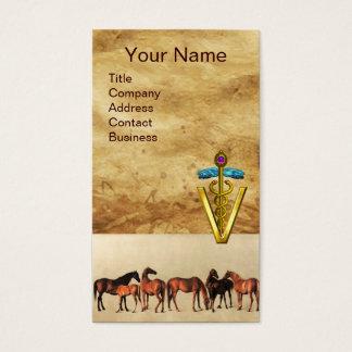HORSES /MARES AND FOALS CADUCEUS VETERINARY SYMBOL BUSINESS CARD