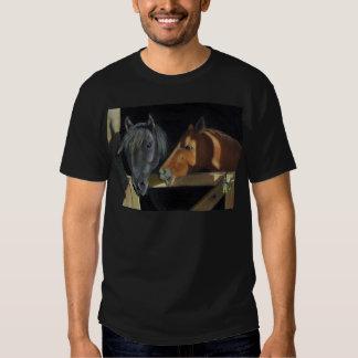 Horses Meeting At Gate: Art In Oil Pastel Shirt