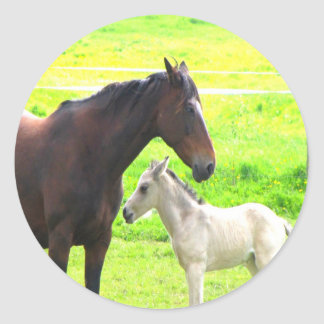 horses mom love peace joy classic round sticker