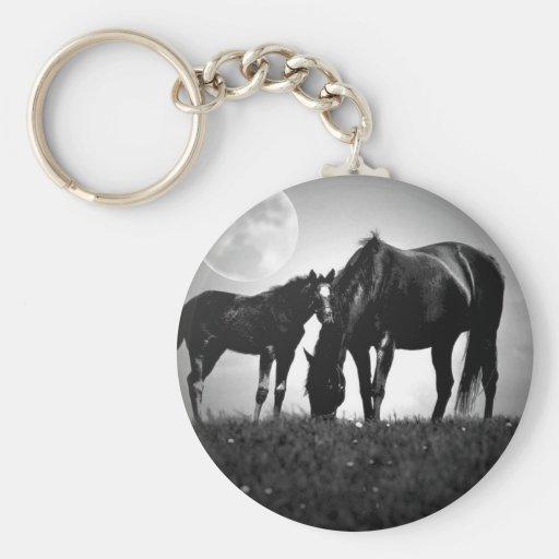 Horses & Moon Basic Round Button Keychain