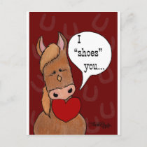 Horse's Mouth Valentine-personalize Holiday Postcard