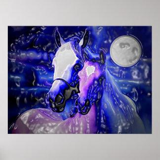 Horses & Night Poster Print - Abstract Horses Art