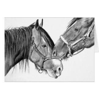 Horses Nuzzling: Original Pencil Drawing Card
