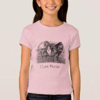 Horses Nuzzling: Original Pencil Drawing T-Shirt