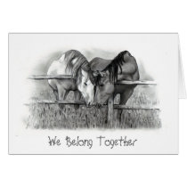 HORSES NUZZLING: PENCIL ART: VALENTINE CARD