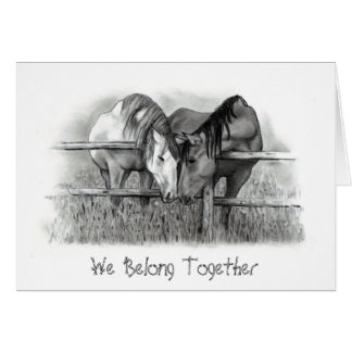 HORSES NUZZLING: PENCIL ART: VALENTINE CARD