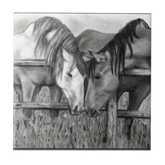 Horses Nuzzling: Pencil Drawing, Realism Tile