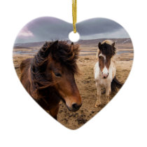 Horses of Iceland Ceramic Ornament